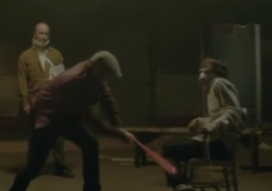 A scene from the music video for Duquesne Whistle