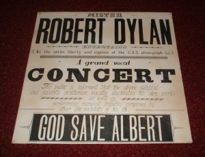 Bob Dylan concert poster claiming to be from the 1965 show at the Royal Albert Hall in London, England